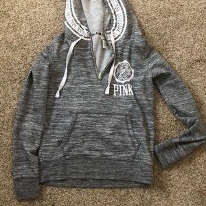 Grey zip vs pink hoodie